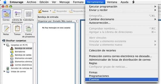 configurar entourage mac