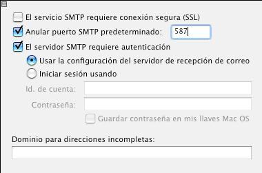 configurar smtp entourage
