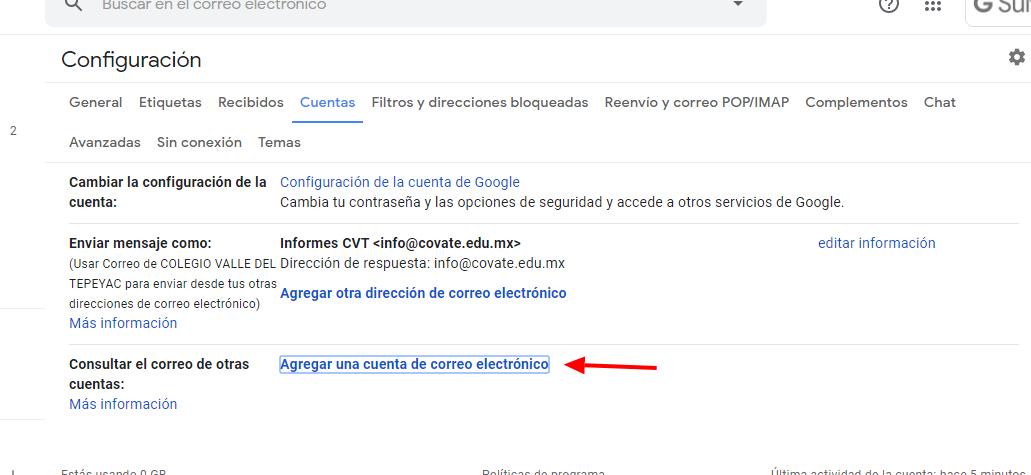 Agregar cuenta de correo externa a Gmail