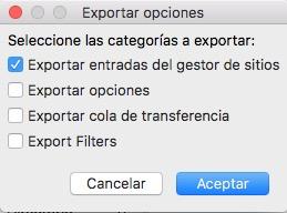 como exportar configuracion de filezilla