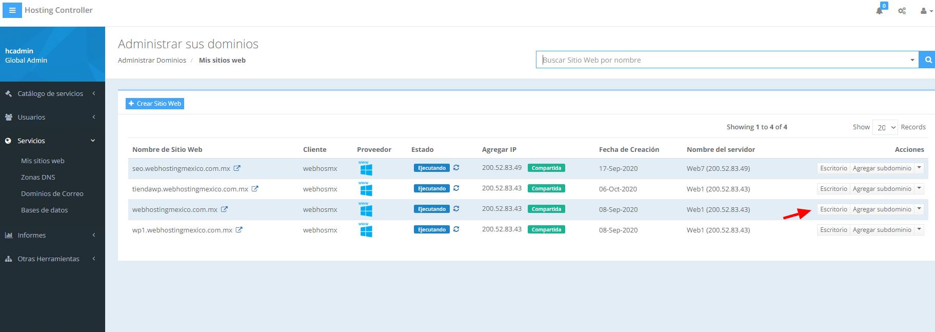 hosting controller escritorio